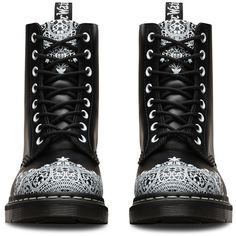Dr. Martens Leather Pascal Lace Boots ($109) ❤ liked on Polyvore featuring shoes, boots, black, black lace shoes, leather boots, black leather shoes, slip resistant boots and dr martens boots