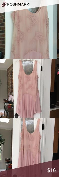 ❤️❤️❤️ size large pink lace ballerina style dress! Adorable light pink floral dress! Sheer at parts. Asymmetrical at bottom ❤️❤️❤️ Dresses Asymmetrical