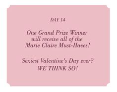 GUESS and Marie Claire have the sexiest Valentine's Day Must- Haves for you and your special someone. Enter the GUESS 14 Days of Sexy Sweepstakes today for a chance to win one of these date night essentials.