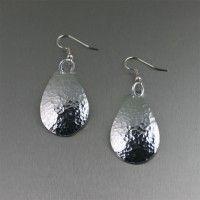 Hammered Aluminum Tear Drop Earrings. Fun and Flirty!   http://www.johnsbrana.com/hammered-aluminum-tear-drop-earrings-2.html  $30.00