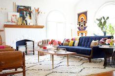 Blue Velvet Sofa in Emily Henderson's Living Room