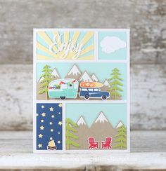 Papertrey Ink - Scene It: Mountain View Die: Papertrey Ink Clear Stamps Dies Paper Ink Kits Ribbon