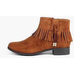 Boohoo Natalia Fringe Trim Chelsea Boot ($44) ❤ liked on Polyvore featuring shoes, boots, tan, short boots, chelsea boots, platform boots, ankle boots and peep-toe boots