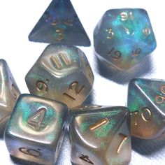 Fire Opal Black Dice Polyhedral set of 7 16mm dice - translucent sparkle glitter dice - Out of Print OOP - Rare and shiny!