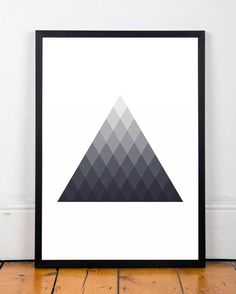 Geometric poster, Triangles art print, Triangles poster, Contemporary art, Wall…