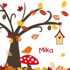 Autumn baby birth announcement with mushroom, bird and tree.  Kaartje2go