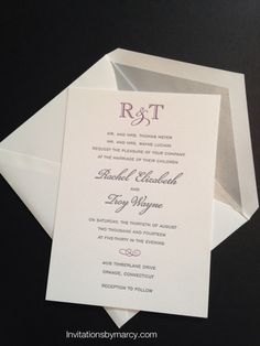 Letterpress wedding invitation Eggplant and charcoal ink. Silver envelope liner