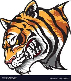 Angry Tiger Head vector image on VectorStock Tiger Art, Tiger Head, Tiger Vector, Vector Art, Angry Tiger, Cartoon Tiger, Earth Logo, Angry Animals, Tiger Illustration