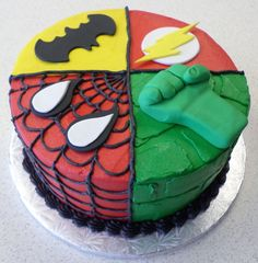 What do batman, spiderman, the flash, and the incredible hulk have in common? This cake!