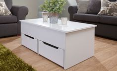 Ultimate Two Drawer Lift Up Storage Coffee Table (White) Ikea Storage Furniture, Home Furniture, Lift Top Coffee Table, Coffee Table With Storage, Storage Drawers, Home Kitchens, House, Color, Home Decor