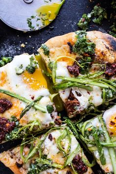 Springtime Pizza with Chipotle Romesco, Eggs, and Shaved Asparagus Salad #spring #pizza #egg