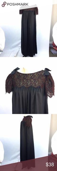 """Vtg Rosa Puleo-Szule Lily of France Sz M Nightgown *  Vintage full length black nightgown by Rosa Puleo-Szule for Lily of France; size M  * Features lace top and short sleeves; bow detail on shoulders; vintage Union tag  * Please see below for measurements; all measurements taken with garment lying flat.  Please see all photos for complete condition assessment.  Shoulder to Shoulder: 14.5"""" Armpit to Armpit (Bust): 21"""" Waist: N/A Overall Length: 56"""" Sleeve: 9"""" Item Number: 2719 VV Lily of…"""