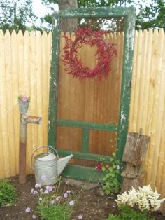 screen door garden decore. Replace screen with chicken wire. - Super cute for outdoor décor!
