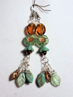 Translucent Light Green and Gold Floral Earrings with Glass Leaf Beads