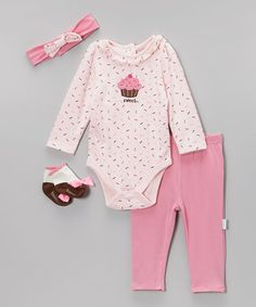 Take a look at the Vitamins Baby Pink 'Sweet' Sprinkle Cupcake Bodysuit Set - Infant on #zulily today!