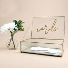 Gold & Glass Wishing Well with Cards Sign