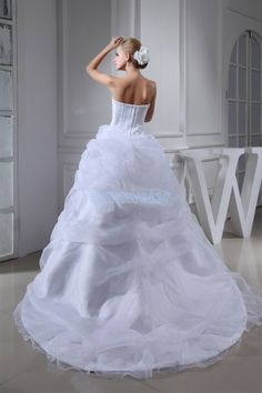 Strapless Ball Gown Organza Beading White Wedding Dress In Train With Appliquess