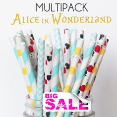 100pcs Mixed Colors ALICE IN WONDERLAND Paper Straws,Chevron,Dot,Vintage,Deck of Cards,Casino,Heart,Birthday,Party Straws