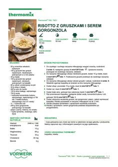 Risotto z gruszkami i serem gorgonzola Risotto, Make It Simple, Food And Drink, Cooking, Kitchen, Kitchens, Cuisine, Brewing, Cucina