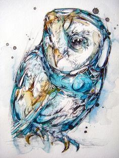The Sea Glass Owl Art Print * * * * * * * * * * * * * * * * * * * * * * * * * * * * * * * * * * *