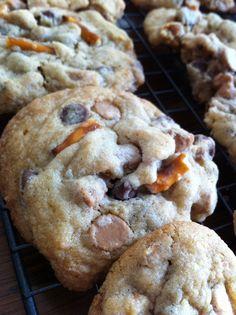 Chocolate Peanut Butter Chip Pretzel cookies
