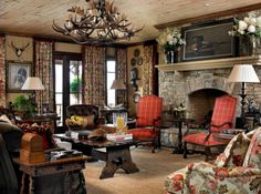 I love the ceiling....den from 2012 Cashiers decorator showhouse