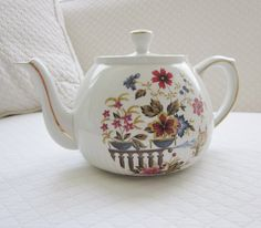Ironstone Ellgreave Floral Teapot  Vintage Cottage Chic by AhmNutz, $14.00