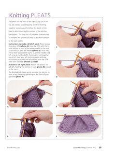 How to knit pleats Knitting Help, Vogue Knitting, Knitting Stiches, Knitting Yarn, Crochet Stitches, Knitting Needles, Knitting Patterns, Crochet Patterns, Knit Or Crochet