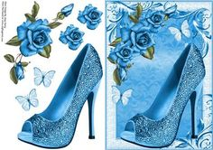 Beautiful Dark Blue Shoe & Roses in lovely swirl frame with little white butterflies and decoupage
