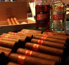 Partagas Serie D #5 and Rum Santiago de Cuba.