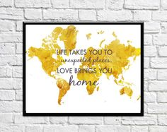 Yellow World Map Prints Large World Map Home and by DaniJArts