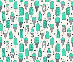 Ice Cream Varieties - Light Jade/Parisian Blue by Andrea Lauren - andrea_lauren - Spoonflower