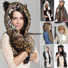 Buy new animal winter warm faux fur hat fluffy plush cap hood scarf shawl  glove xmas hot from dresslink fb1fd859d2af