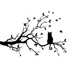 Cat Sitting on Tree Branch Vinyl Wall Art (56 CAD) ❤ liked on Polyvore featuring home, home decor, wall art, vinyl wall decals, branches home decor, vinyl wall art, cat wall decals and black wall art