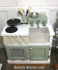 Restyle Relove: Kids DIY Wooden Kitchen from TV cabinet