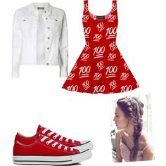 """100"" by joigregg on Polyvore featuring polyvore fashion style Dorothy Perkins Converse"