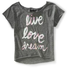 Aeropostale Cropped Sequined Live Love Dream Dorm Tee ($5) ❤ liked on Polyvore
