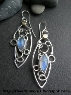 Handcrafted Sterling Silver Earrings with Brilliant Blue Moonstones