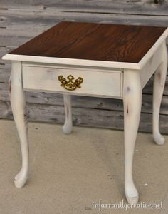spray painted table stained top,I would paint a white lace player on the dark top Furniture Restoration, Redo Furniture, Shabby Chic Table, Refinishing Furniture, Table, End Table Makeover, End Tables, Stained Table, Western Furniture