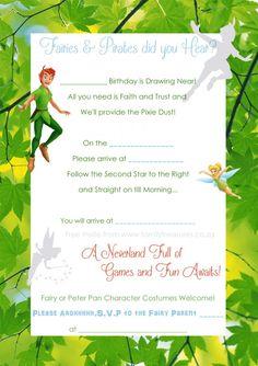 Peter Pan Birthday Invitations with nice invitation design