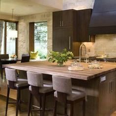 Contemporary Kitchen/ Love these barstools.