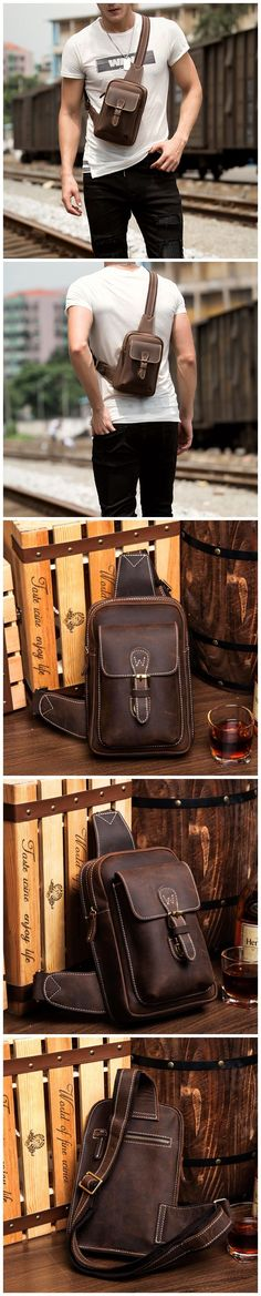 Full Grain Leather Chest Pack Men Retro Chest Bag Casual Shoulder Messenger Bag Model Number: Dimensions: x x / 17 cm(L) x 9 cm(W) x 25 cm(H) Weight: lb / 1 kg Hardware: Brass Hardware Shoulder Strap: Adjustable Color: Coffee Features: Mens Style Guide, Casual Bags, Christmas Shopping, Men's Style, Style Guides, Passion For Fashion, Messenger Bag, Shoulder Strap, Mens Fashion