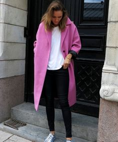 No wonder pink coats will be hot this fall (2013-14) this one looks so gorgeous.... Elevates a basic black pants white blouse combination so much