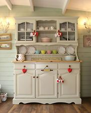 Pine Welsh Dresser Shabby Chic French Farrow & Ball Off White #03 Country Note the wall - horizontal tongue & groove....could we do this for our wardrobe wall?