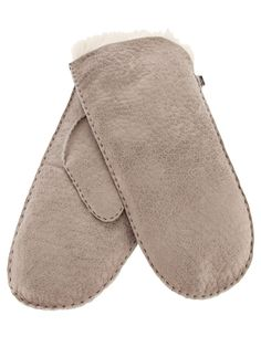 Description  Grey lambskin ' Toscana' mittens from Karl Donoghue featuring exposed stitching and a black leather strap attached by silver tone metal clips.