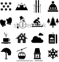 winter/alpine/ski pictograms - stock vector