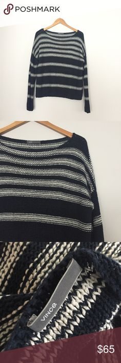 VINCE. Heavy knit navy striped sweater Really heavy sweater. Chunky knit with navy and white stripes. Super cute. Fits S-M. RTP $195. Negotiable ✅ Vince Sweaters Crew & Scoop Necks