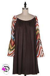 Brown Multi Chevron Bell Sleeve Dress $36.99 Divalicious