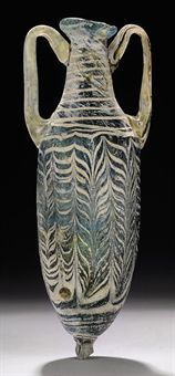 A GREEK CORE-FORMED GLASS AMPHORISKOS                                                                                                                                                                       HELLENISTIC PERIOD, CIRCA LATE 2ND-EARLY 1ST CENTURY B.C.