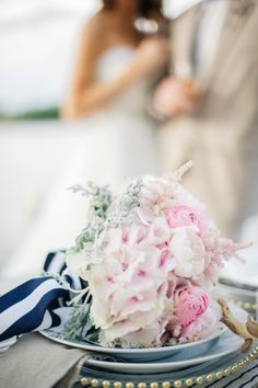 #hydrangeas #stripes Photography by jodysavagephotography.com Floral Design by couturefleur.net Stationery by paperista.com  Read more - http://www.stylemepretty.com/2013/07/17/nautical-inspired-photo-shoot-from-jody-savage-photography/